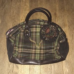 Juicy Couture plaid Wool Bowler Bag